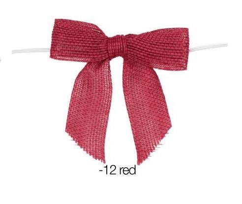 Pretied Red Burlap Bows - 12 pack