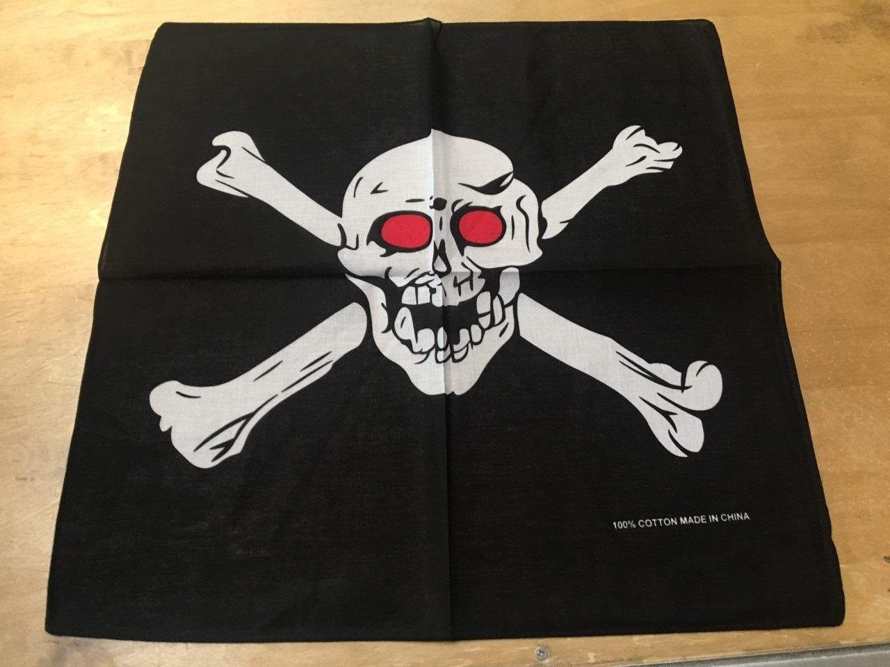 "Skull Bandanas Crossbones Red Eyes 22"" x 22"" 100% Cotton"