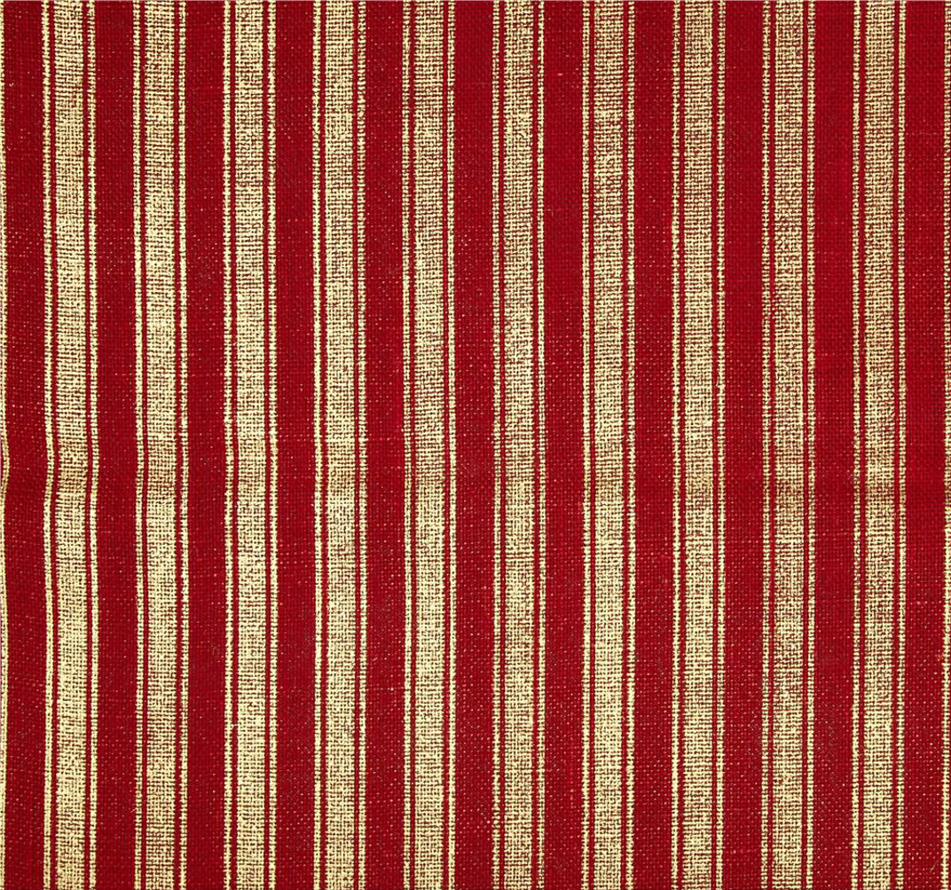 "60"" Metallic Foil Stripe Burlap Red/Gold By The Yard"