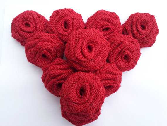 Red Burlap Flowers (12 Pack)