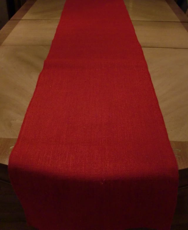 Red Burlap Table Runner