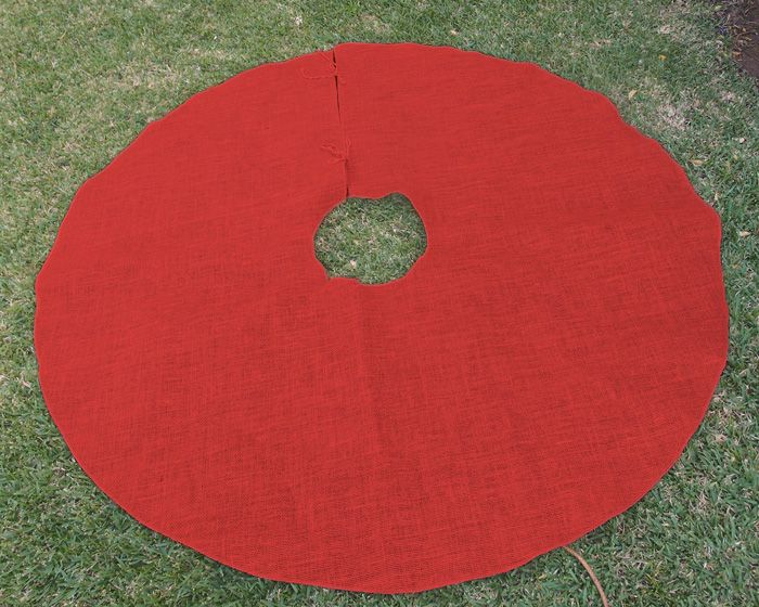Red Burlap Tree Skirt - 60""