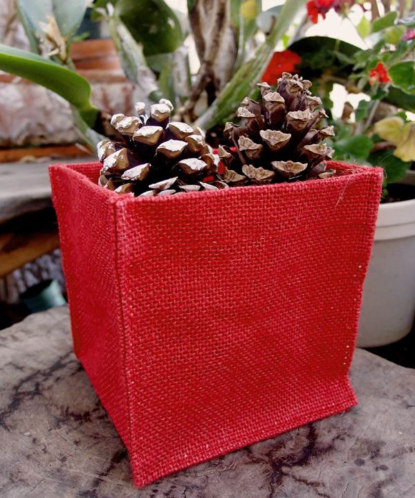 "Red Burlap Vase Holder - 5"" x 5"" x 5"" (12 Pack)"
