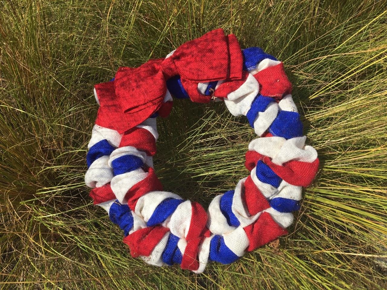 Red White & Blue Burlap Wreath