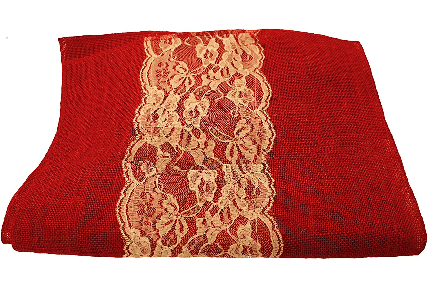 "14"" Red Burlap Runner with 6"" Ivory Lace"