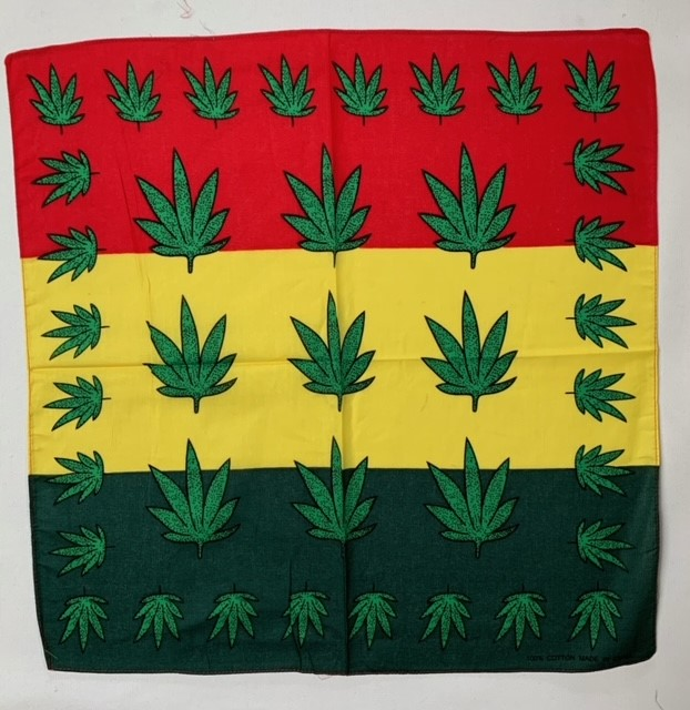 "Marijuana Bandana Red/Yellow/Green 22"" - 100% Cotton"