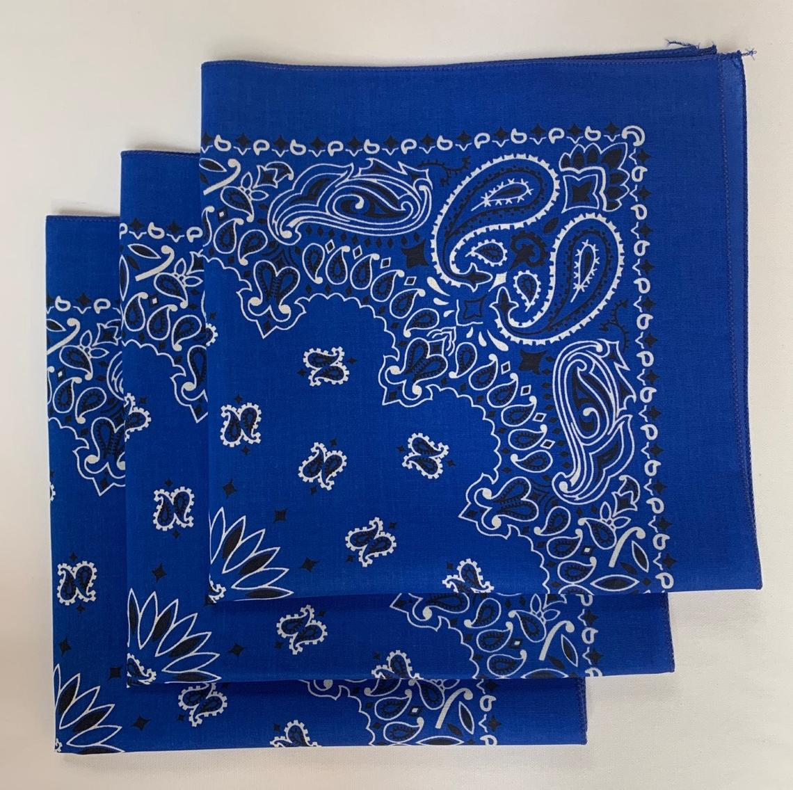 "Royal Blue Paisley Bandanas - Made In The USA (3 Pk) 22"" x 22""a"
