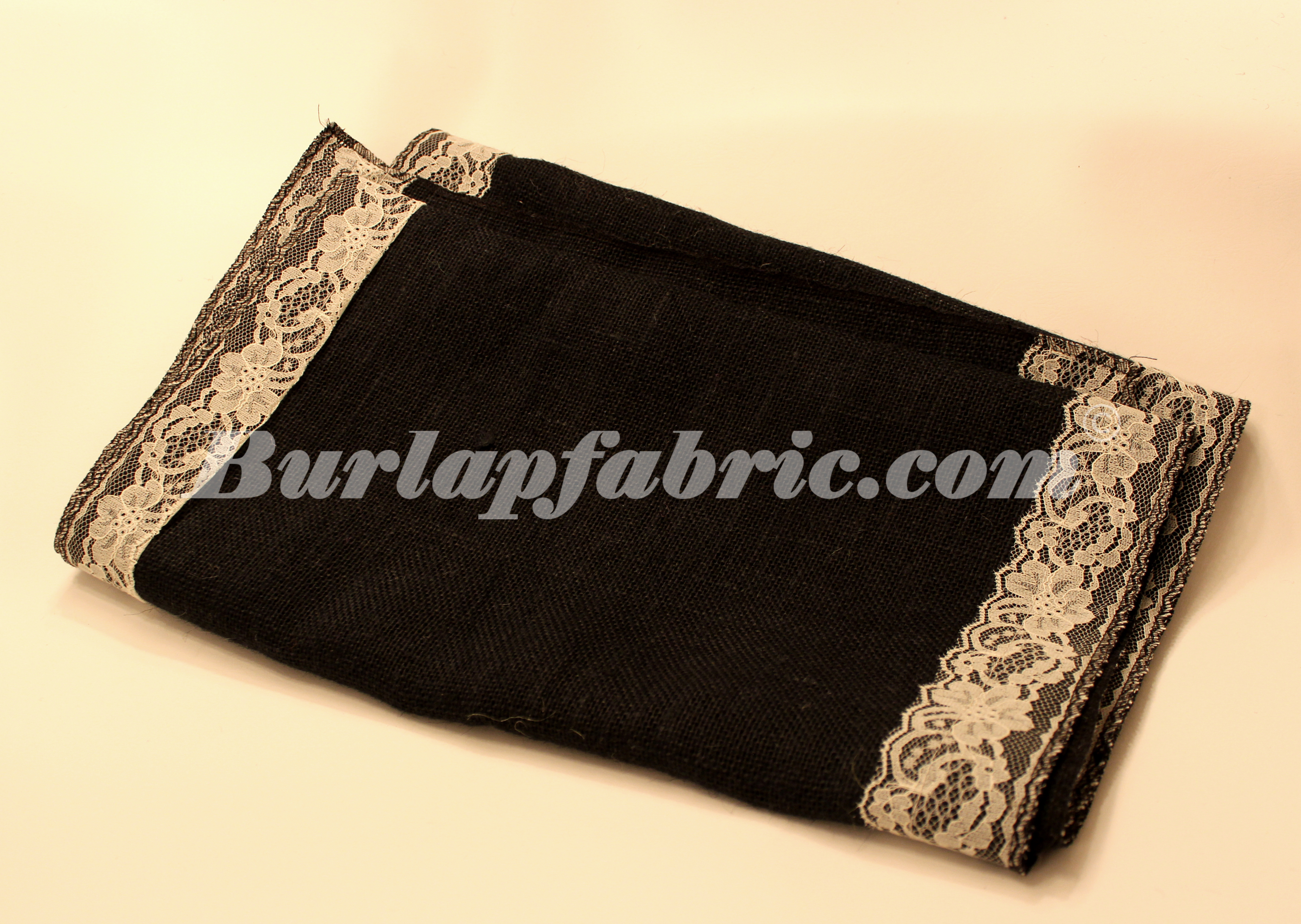 "14"" Black Burlap Runner with 2"" Ivory Lace Borders"