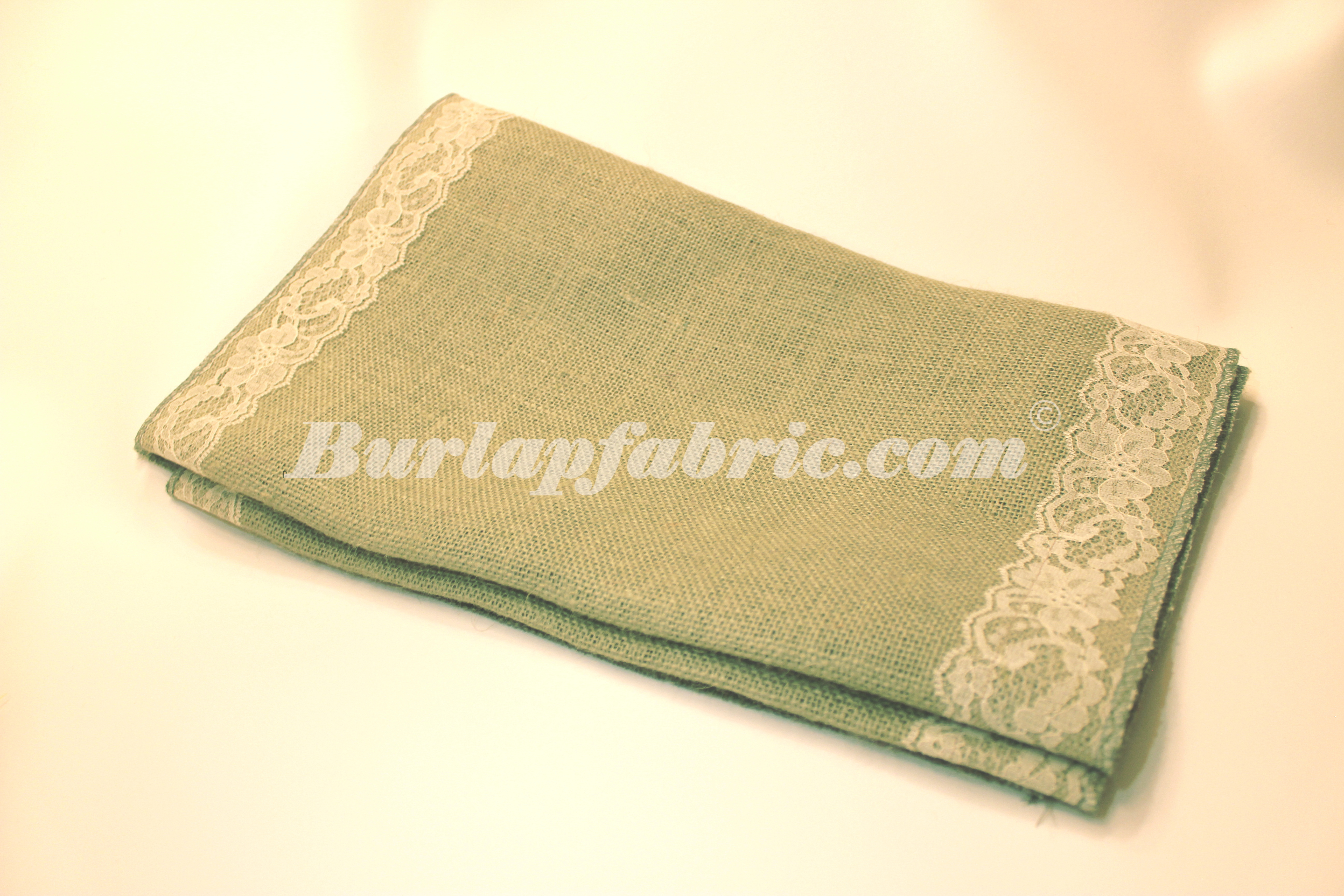 "14"" Sage Burlap Runner with 2"" Ivory Lace Borders"