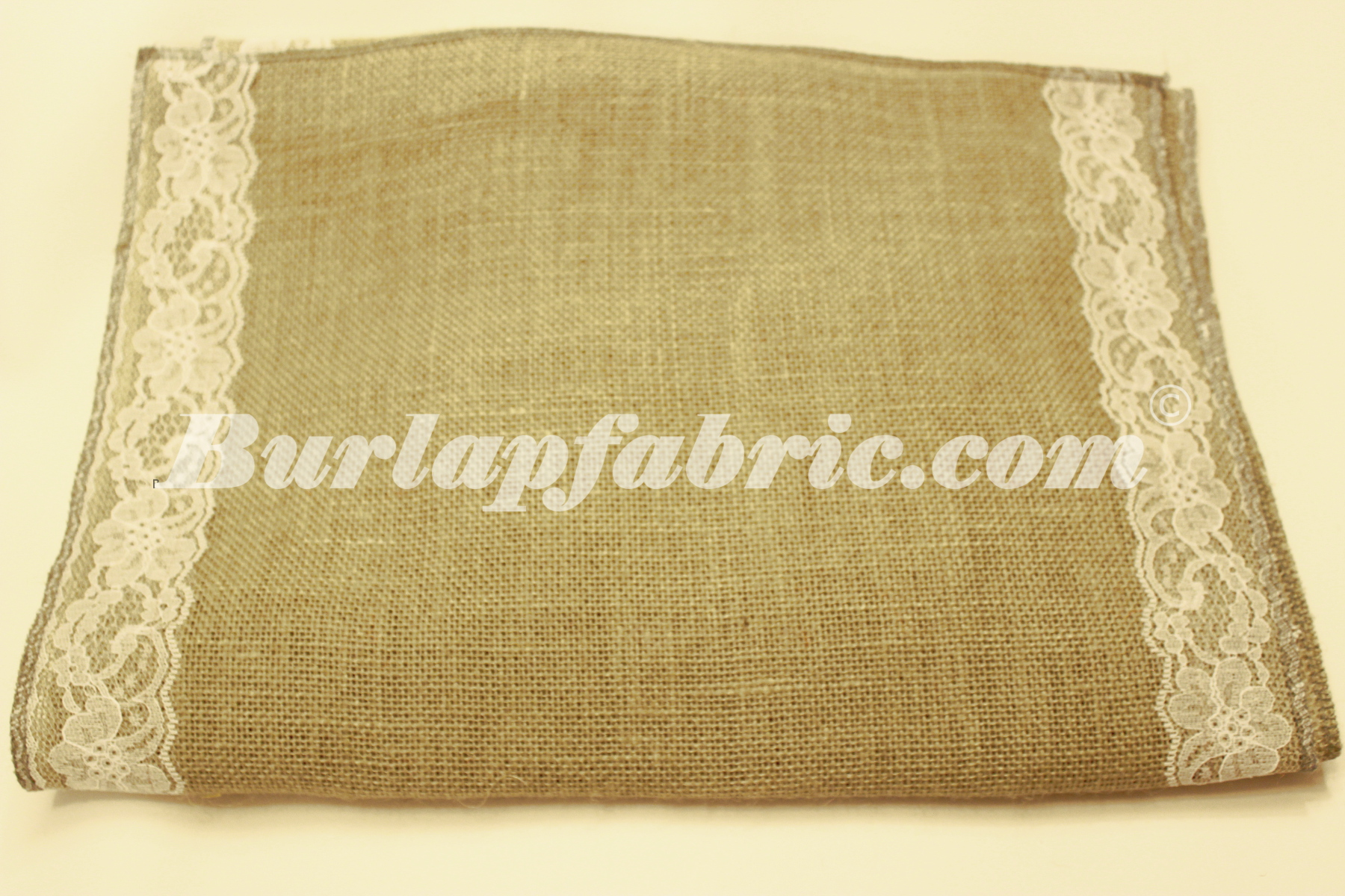 "14"" Sage Burlap Runner with 2"" White Lace Borders"