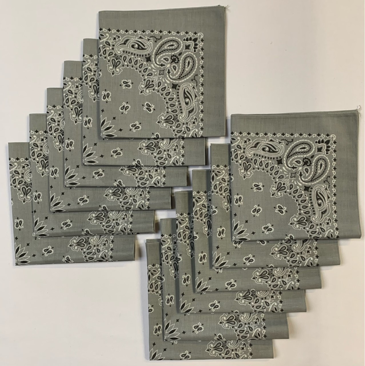 "Made in the USA Silver Paisley Bandanas 12 Pk, 22"" x 22"" Cotton"