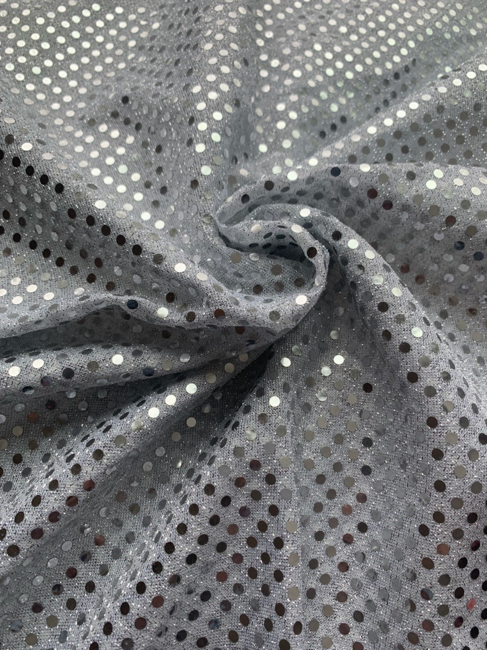 "44/45"" Silver Dot Sequin Faric By The Yard"