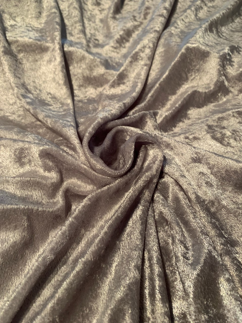 "58"" Silver Stretch Velour Fabric - By The Yard"
