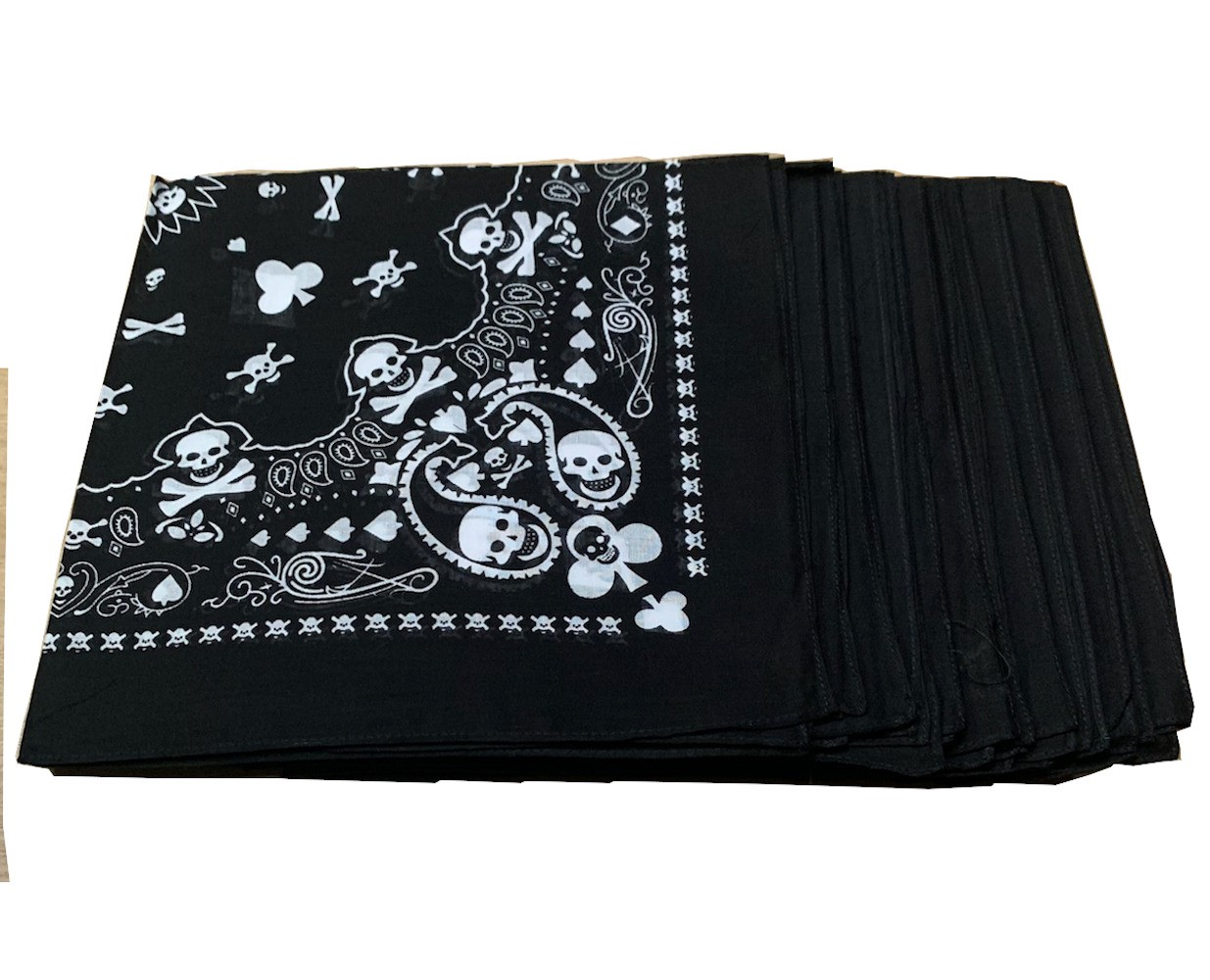 "Playing Card Skull Bandanas 12 Pack - 22"" x 22"""