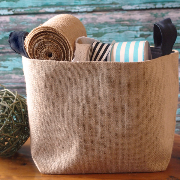 "Burlap Storage Basket - 9"" x 9"" x 7"""