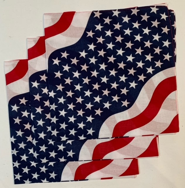 "Stars and Stripes Bandanas 3 Pack 22"" x 22"" 100% Cotton"