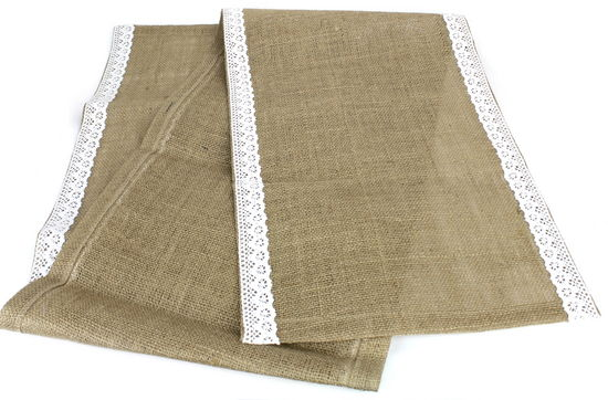 "Burlap Table Runner W/Lace Edge - White (14"" x 72"")"