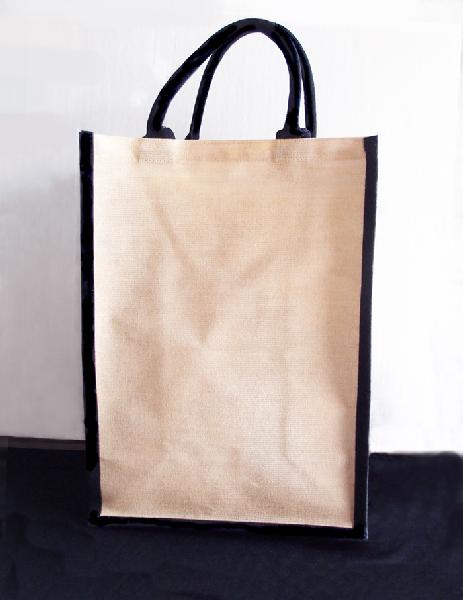 "Tall Jute Blend Tote with Black Trim 13"" x 18"" x 8"""