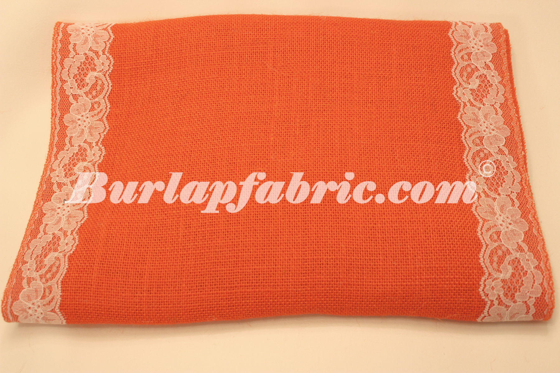 "14"" Tangerine Burlap Runner with 2"" White Lace Borders"