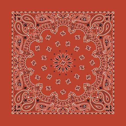 "Terracotta Paisley Bandanas - USA Made (12 Pk) 22"" x 22"""