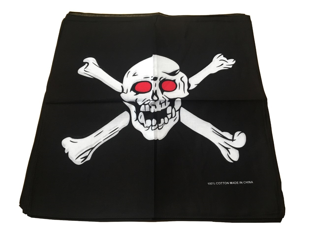 "Skull Bandanas Crossbones Red Eyes (12 PK) 22"" x 22"" 100% Cotton"
