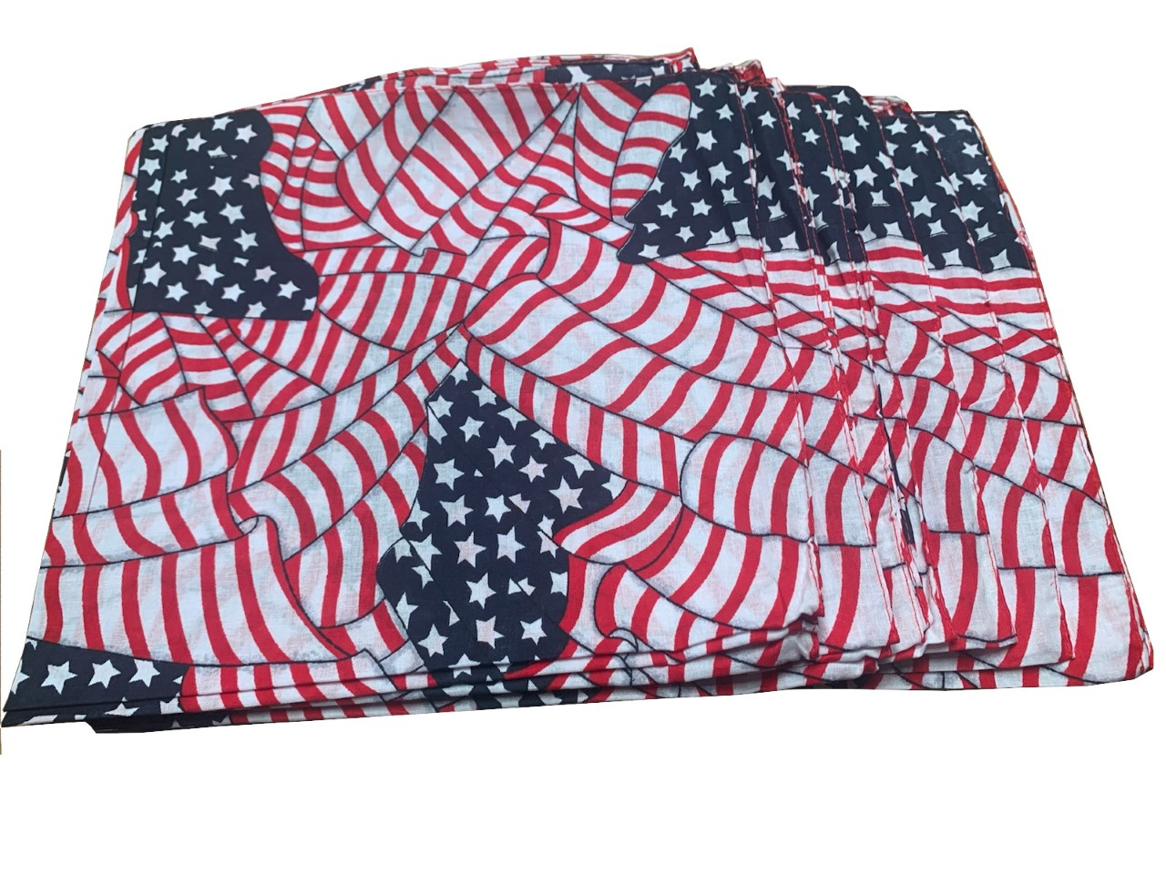"Tossed American Flags Bandana 22"" x 22"" (12 PK) 100% Cotton"