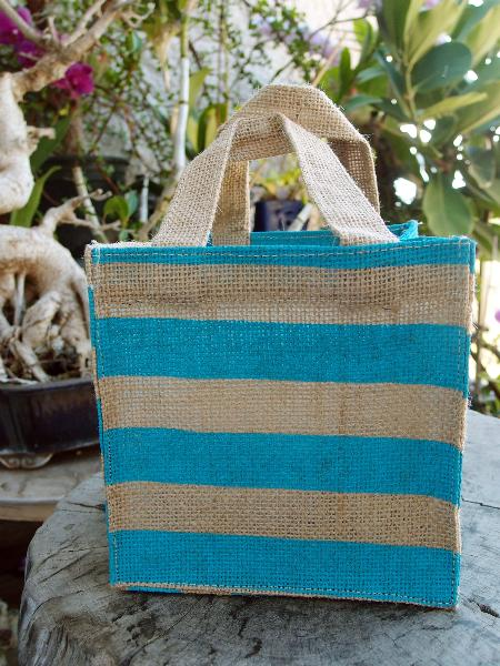 "Jute Plant Tote Bag 6""W x 6""H x 6"" - Blue Stripes"