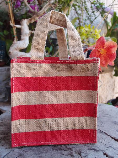"Jute Plant Tote Bag 6""W x 6""H x 6"" - Red Stripes"