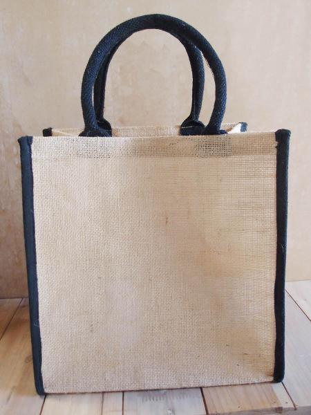 "Burlap Tote Bag w/Black Cotton Trim 12"" x 12"" x 7.75"""