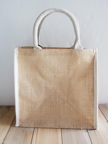 "Burlap Tote Bag w/White Cotton Trim 12"" x 12"" x 7.75"""