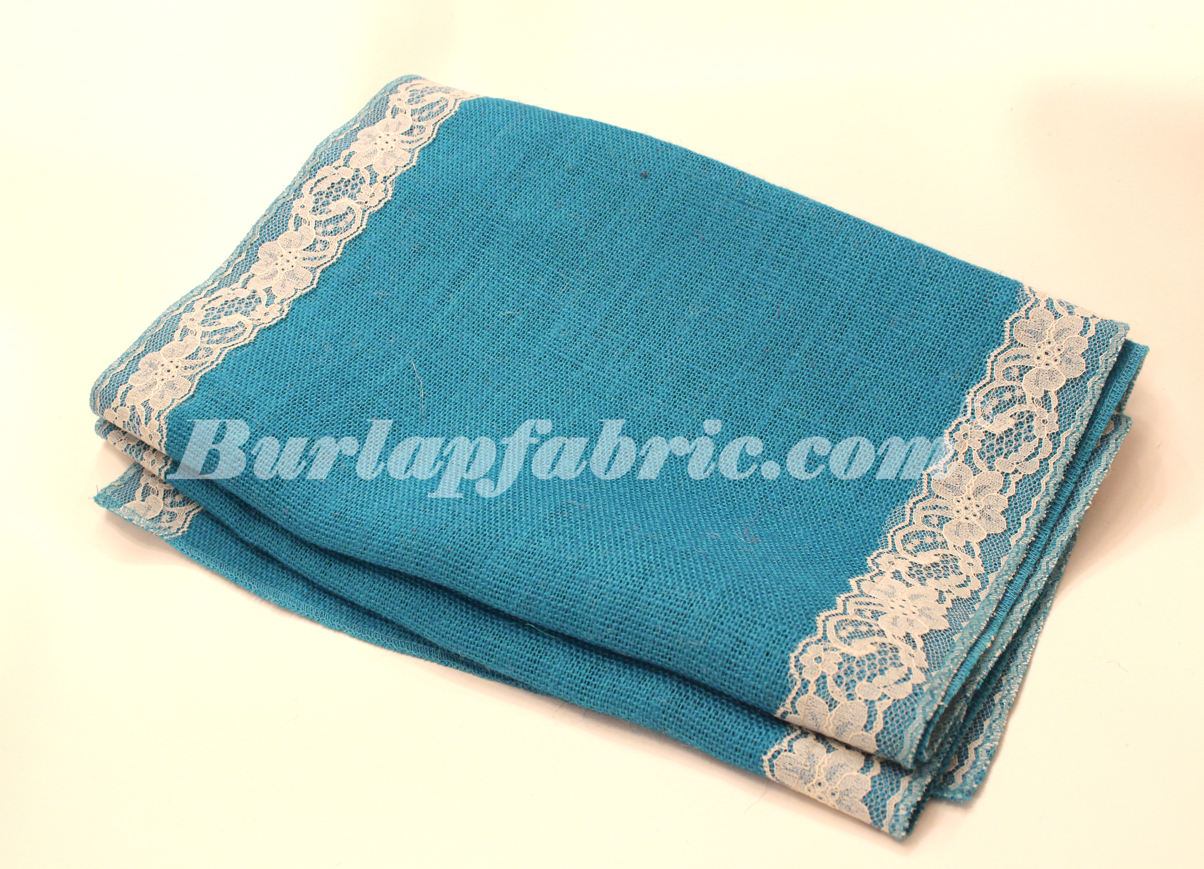 "14"" Bahama Turquoise Burlap Runner with 2"" Ivory Lace Borders"