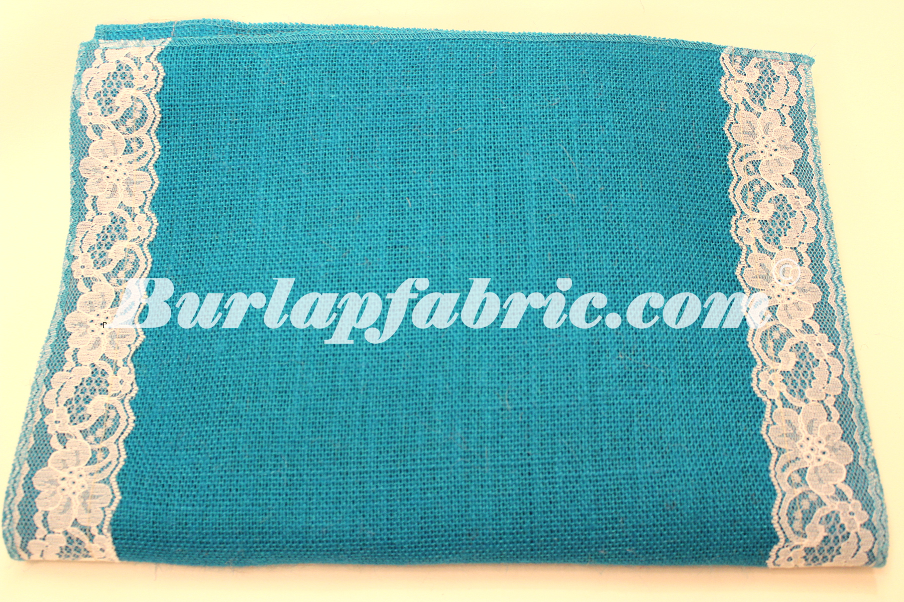 "14"" Bahama Turquoise Burlap Runner with 2"" White Lace Borders"