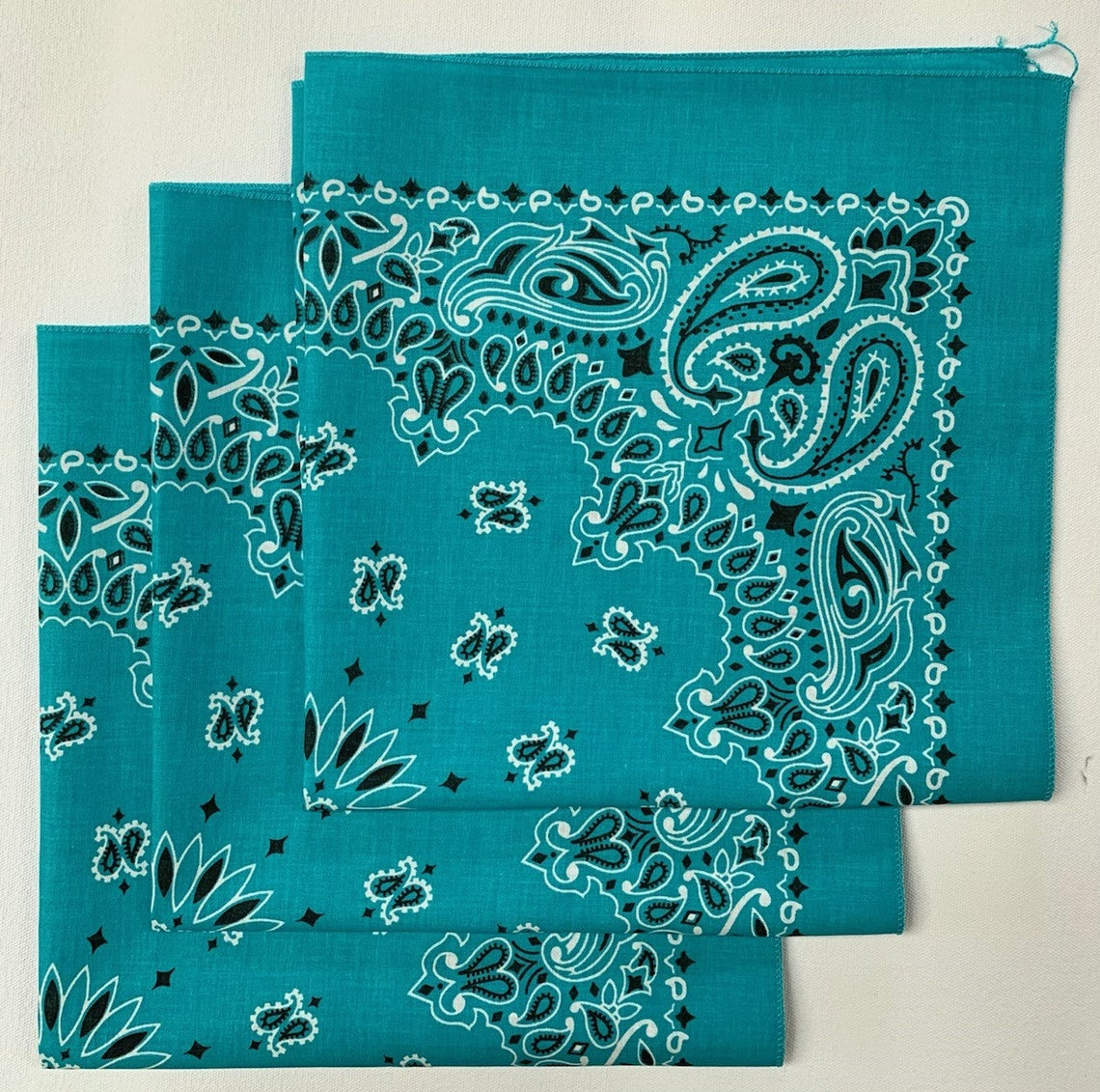 "Turquoise Paisley Bandana - Made In The USA (3 Pk) 22"" x 22"""