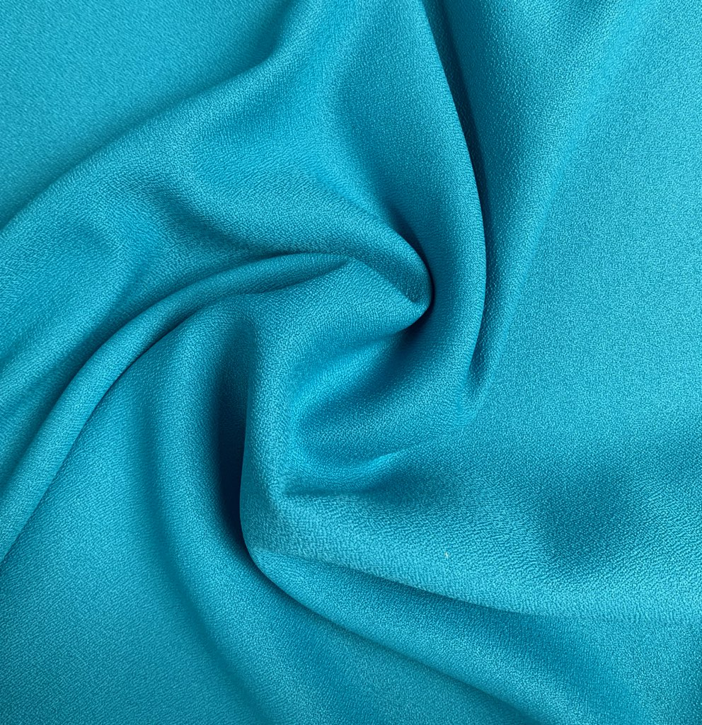 "Turquoise Crepe Fabric - 60"" by the yard (100% polyester)"