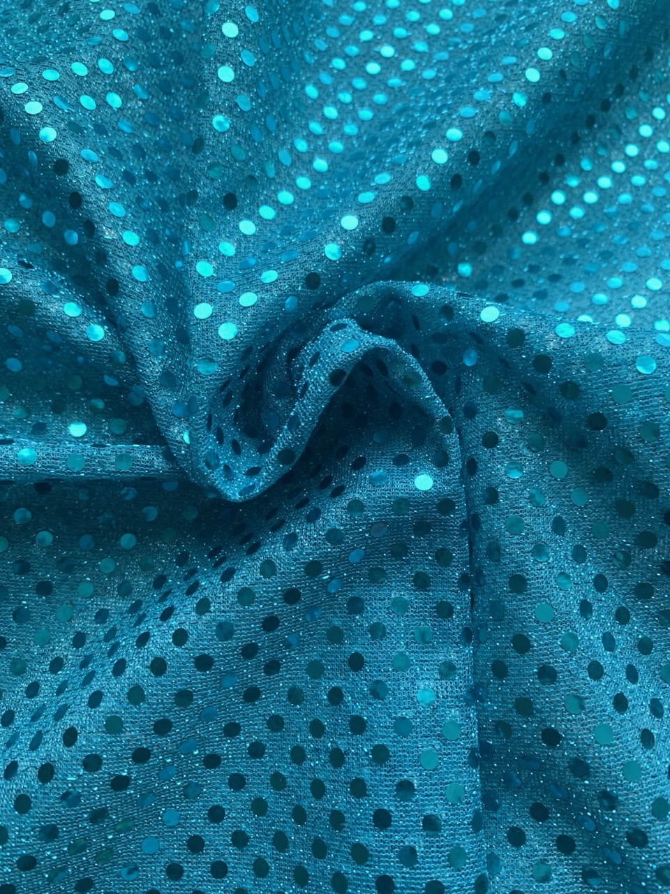 "44/45"" Turquoise Dot Sequin Faric By The Yard"
