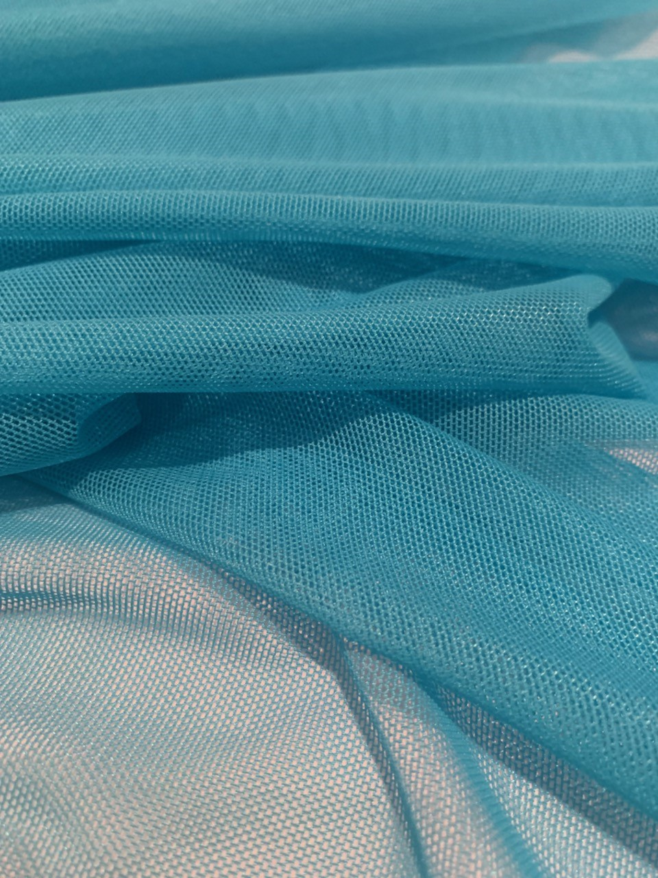 "60"" Turquoise Power Mesh Fabric 80% Poly 20% Spandex Per Yard"