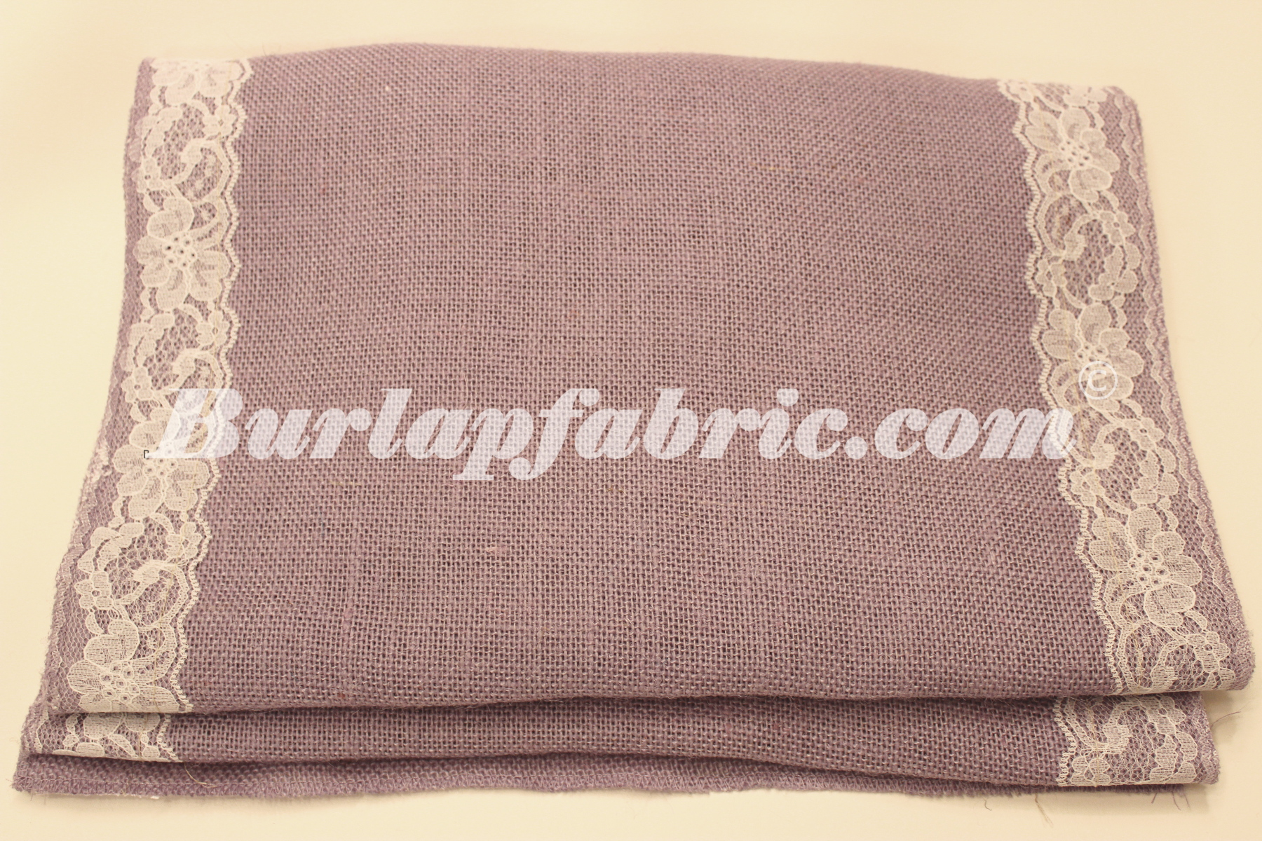 "14"" Violet Burlap Runner with 2"" White Lace Borders"