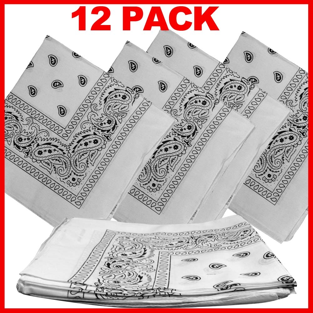 "White Paisley Bandanas (12 Pack) 22"" x 22"" 100% Cotton"