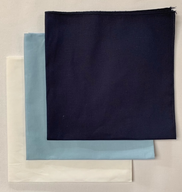 USA Made Solid Color Bandanas 3 Pk Cotton White Lt Blue Navy 22""