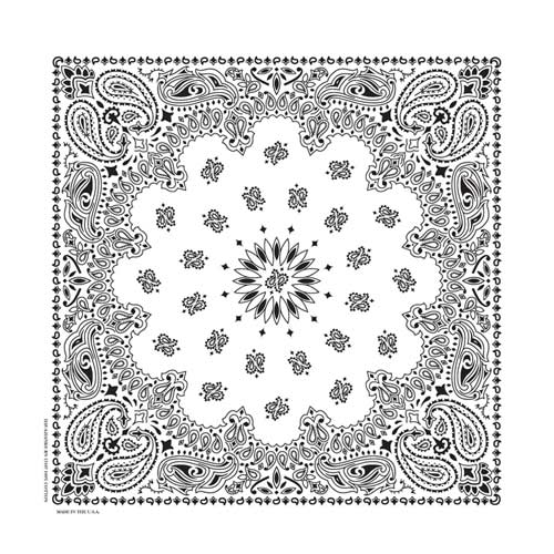 "White Paisley Bandanas - USA Made (12 Pk) 22"" x 22"""