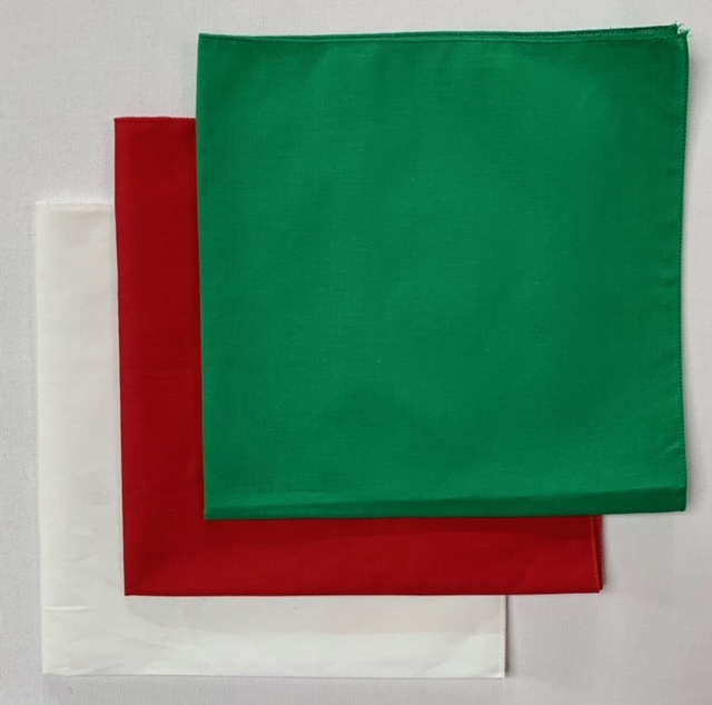 USA Made Solid Color Bandanas 3 Pk Cotton White Red Green 22""