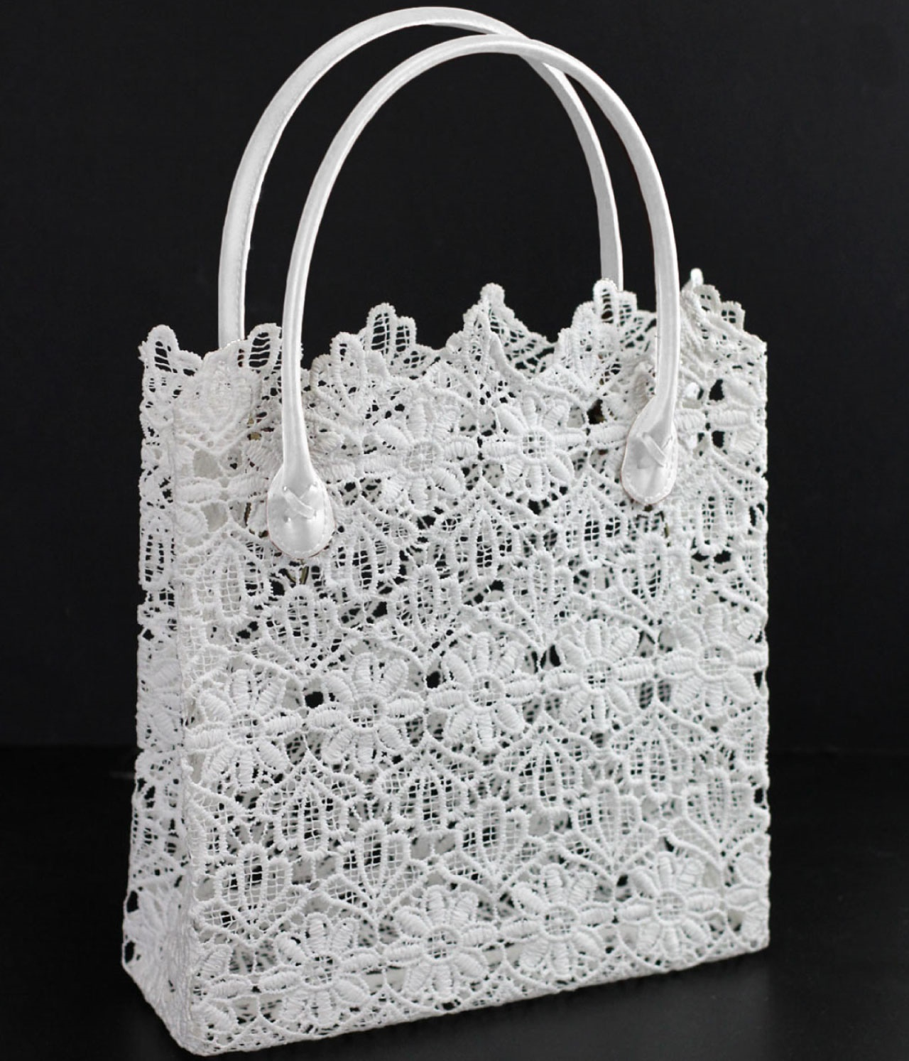 "11"" x 11.5"" x 4"" White Lace Bag with White Handles"