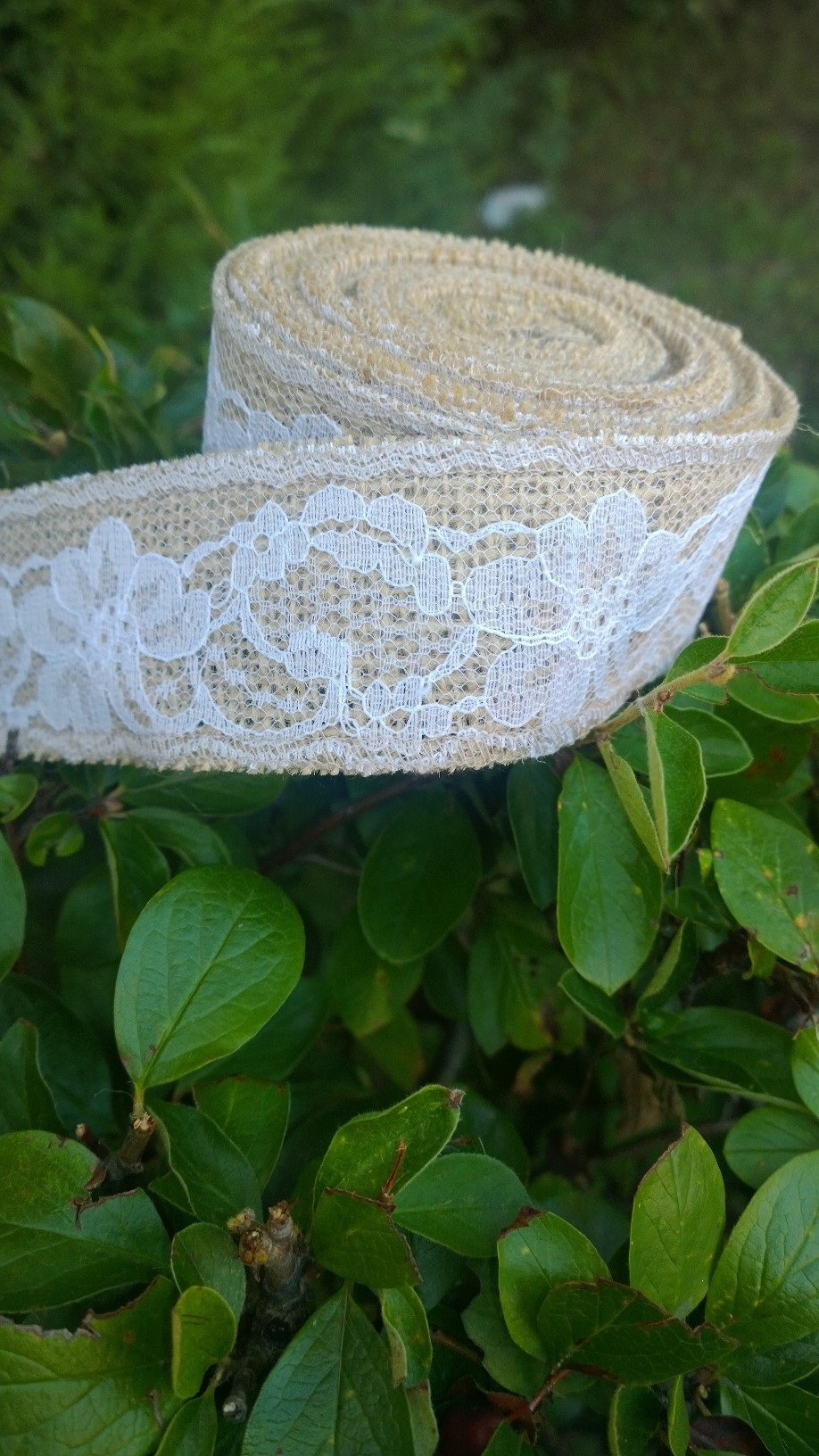 "2"" Natural Burlap Ribbon w/2"" White Lace 5 Yards - Made in USA"
