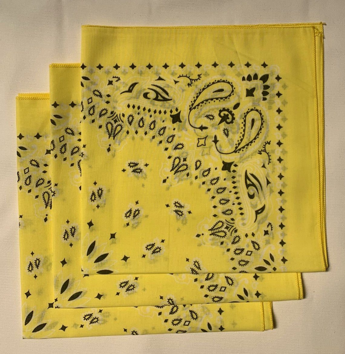 "Yellow Paisley Bandanas - Made In The USA (3 Pk) 22"" x 22"""